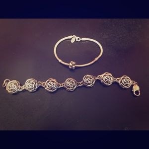 Sterling Pandora bracelet with bead & puff rose